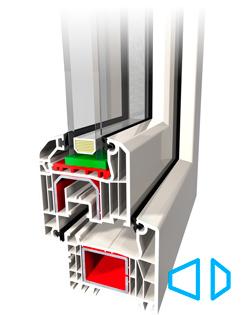 Ideal 4000 6-kambriline süsteem, 70 mm paks profiil, soojapidavus U-1,3 W/m2K, helipidavus 46 dB, max. paket paksus 40 mm, Ümar klaasiliistu kontuur, Kaetud veeäravoolu süsteem.