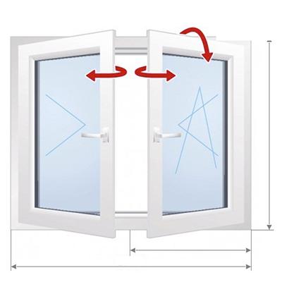 C: Avatavus kahele poole, ilma keskmise postita aken