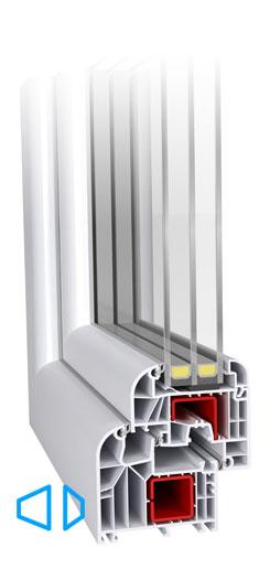 Ideal 8000 6-kambriline süsteem, kleebitava klaaspaketiga, 85 mm paks profiil, kolme tihendiga, spetsiaalsete komponentide lisamisel soojapidavus profiilil kuni U-0,82W/m2K (passiivmaja aken). Ümmarguste klaasiliistudega esteetiline disain. Väga stabiilne profiil mis võimaldab luua erilisi konstruktsioone.