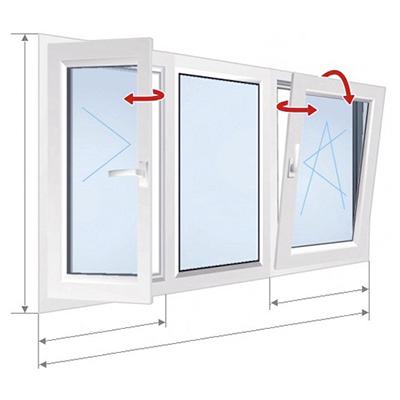 B: 3-osaline aken