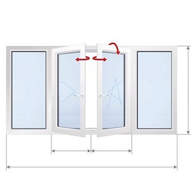 D: Окно с двумя частями, открытыми с закрытыми частями