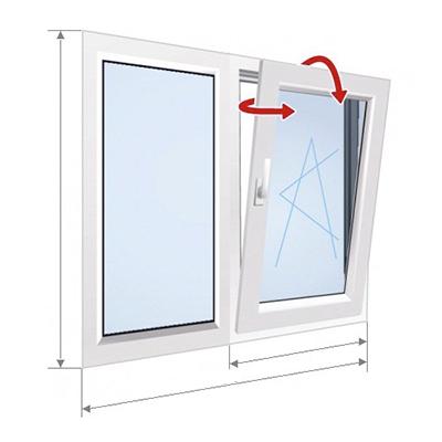 E: Kinnise ja kaldpöördavatava osaga aken