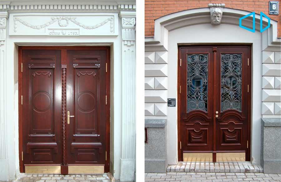 Эксклюзивные входные двери из массива дерева.