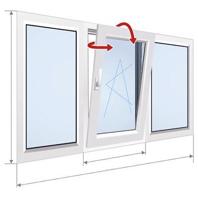 F: Окно с наклонной средней частью