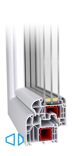 Ideal 8000 Round Line Design 6-kambriline süsteem, kleebitava klaaspaketiga, 85 mm paks profiil, kolme tihendiga, spetsiaalsete komponentide lisamisel soojapidavus profiilil kuni U-0,82W/m2K (passiivmaja aken). Ümmarguste klaasiliistudega esteetiline disain. Väga stabiilne profiil mis võimaldab luua erilisi konstruktsioone.